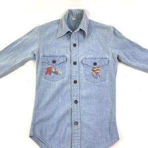 Vintage Embroidered Denim Shirt Horse Indian Chief